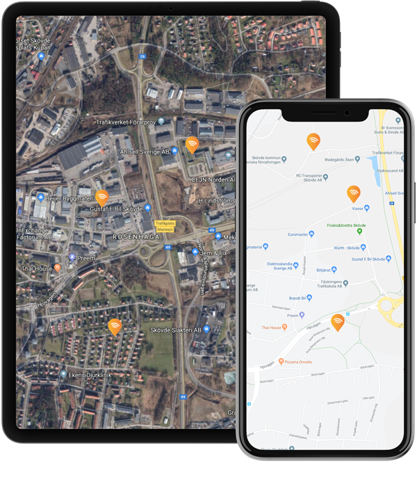 2 devices with real time tracking, showing a map with vehicles on it